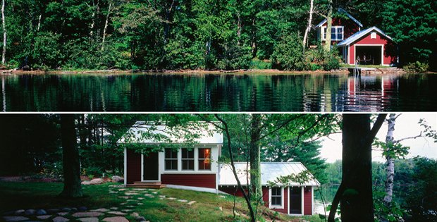 Lakeside cabin renovation with scandinavian design cabin for Lake cabins for rent in massachusetts