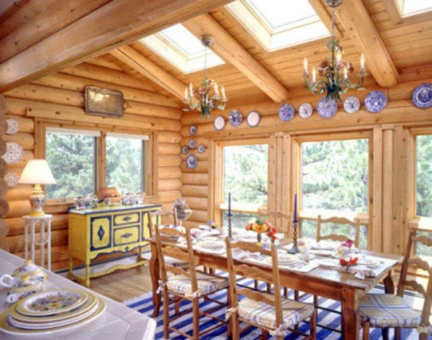 11 ways to introduce color into your cabin page 2 of 2 for Log cabin sunroom additions