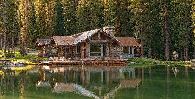 A one of a kind exquisite log and stone cabin cabin for Log and stone homes