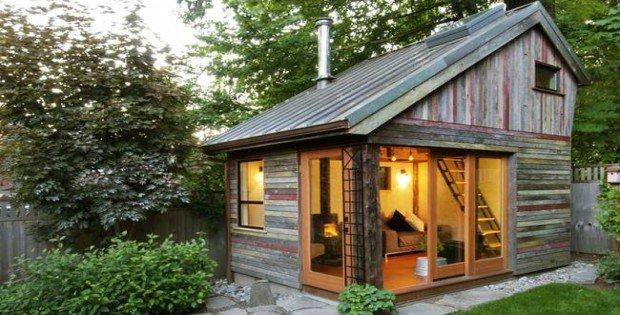 Recycled Tiny Backyard Cabin