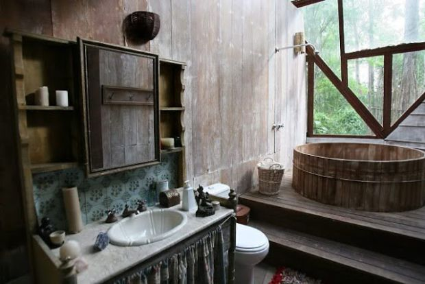 bathroom bohemian hippie dome house eco build