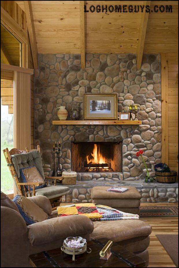 Interior, vertical, fireplace detail, Gunder residence, Suwannee River Log Homes