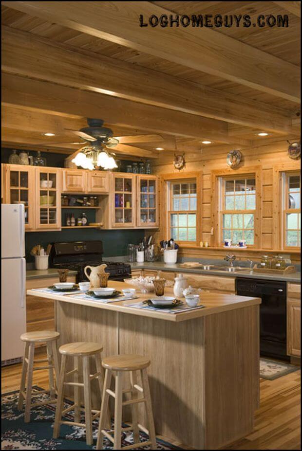 Interior, vertical, kitchen, Gunder residence, Suwannee River Log Homes