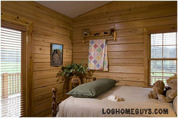 Interior,horizontal, guest bedroom, Gunder residence, Suwannee River Log Homes