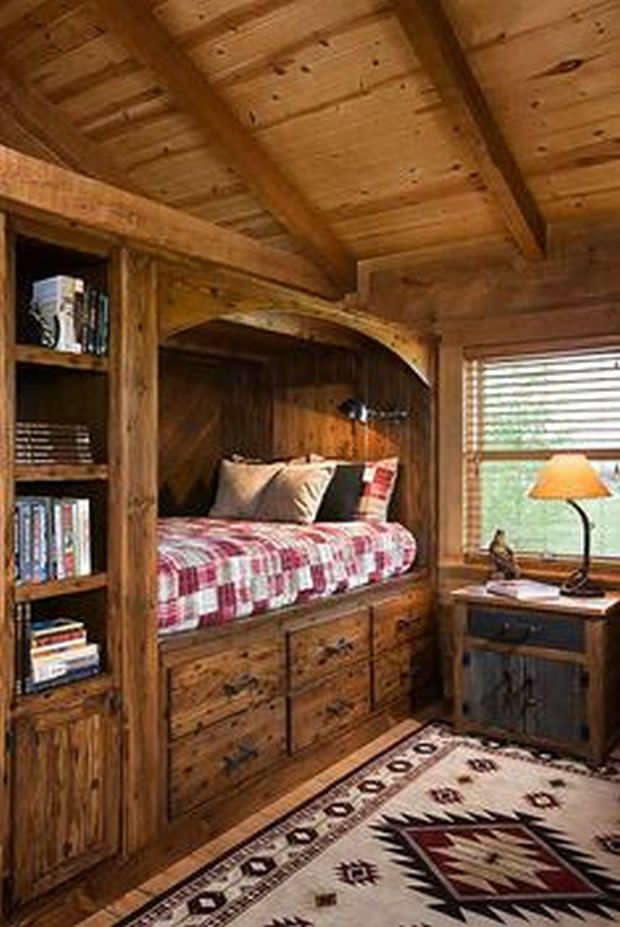 Interior, vertical, loft bunk bed, Bittersweet Station, Lexington, Kentucky; Appalachian Log Homes